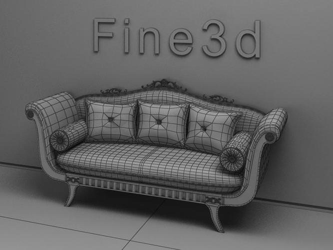 ... old-fashioned sofa 3d model max obj 3ds 2