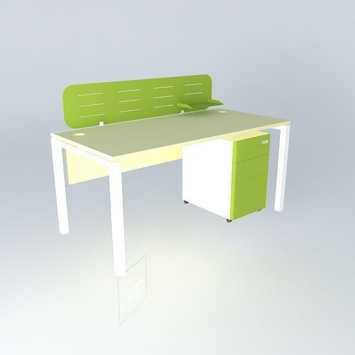 Workstation Desk With Mobile Pedestal 1600x800x750mmh 3d Model Max Obj 3ds Fbx Stl Dae 1