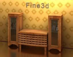 cabinets-storage 3D model Wooden Cabinet
