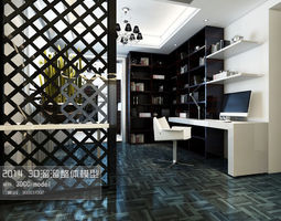 stylish luxury study design 03 3d model