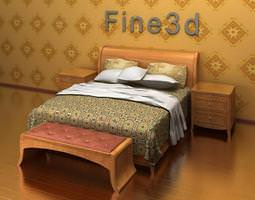 Double Bed with Bed-side tables 3D