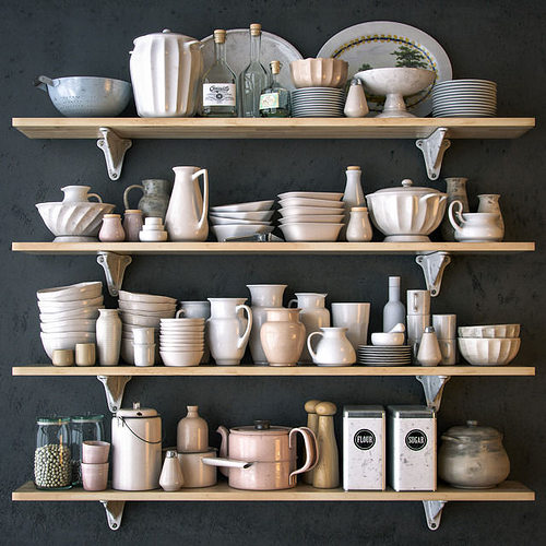 shelves with dishware in white 3d model max obj mtl 1