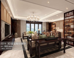 Stylish and luxurious living room design 239 3D Model