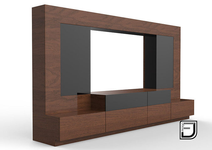 Living 3d tv stand cgtrader - Dresser as tv stand in living room ...