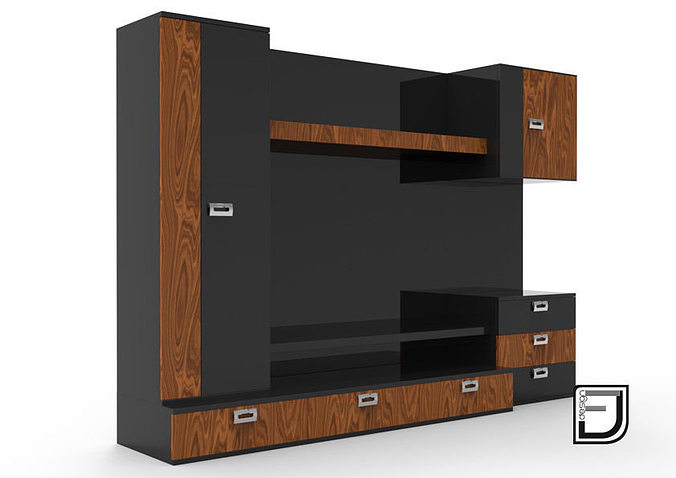 video tv stand 3d cgtrader. Black Bedroom Furniture Sets. Home Design Ideas