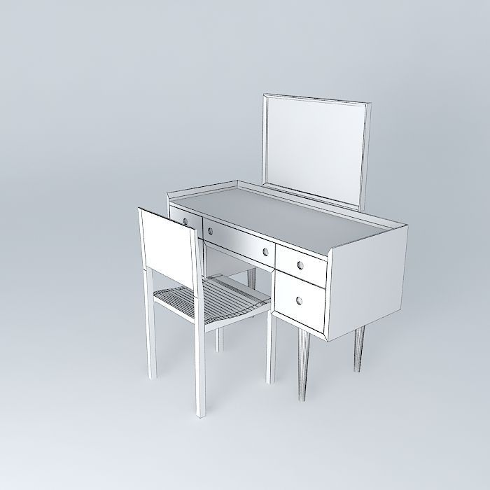 ... Dressing Table Chair 3d Model Max Obj 3ds Fbx Stl Dae 5