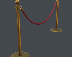 stanchion and velvet rope 3d
