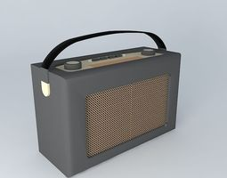 roberts radio retro black leather 3d model