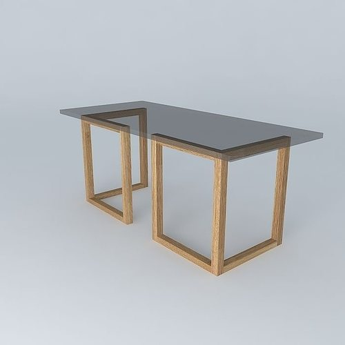 table glass top tressle legs 3d model max obj mtl 3ds fbx stl dae 1