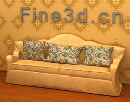 Sofa with cushions 3D