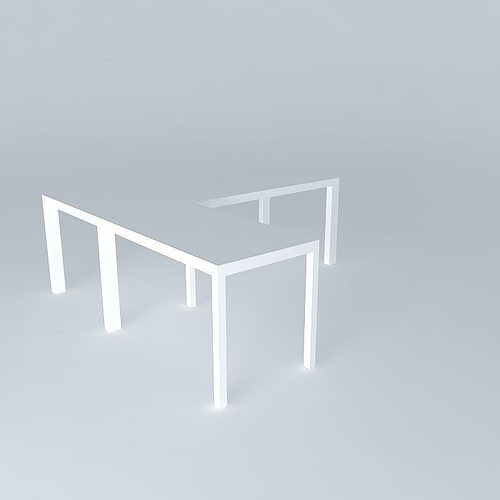 desk with return - white lacquer 3d model max obj mtl 3ds fbx stl dae 1
