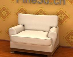 White Armchair 3D