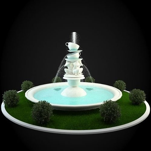 fountain 3d model max obj mtl fbx 1