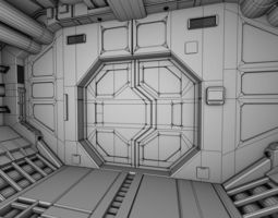 spacecraft corridor 3d