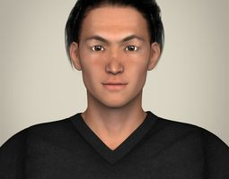 3d model realisitc young japanese male
