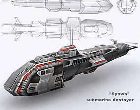 3DRT - Sci-Fi Naval Vessel - Spawn low-poly