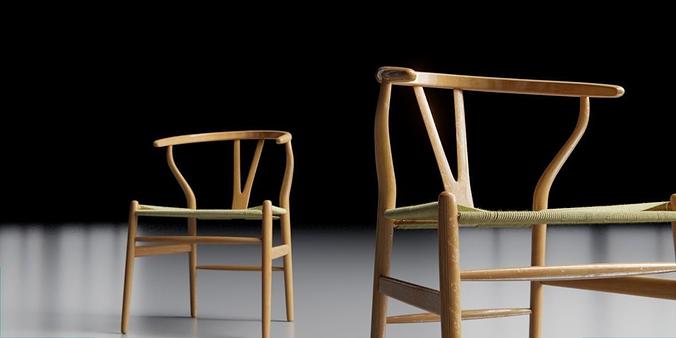 wishbone chair 3d model obj mtl 3ds fbx blend dae 1