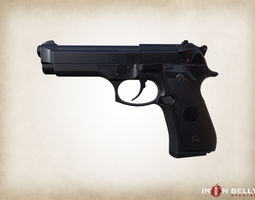 3D model AAA FPS Beretta M9 Pistol Game-Ready