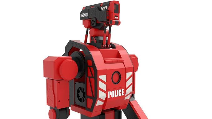 police robot 3d model obj fbx blend dae mtl x3d 1
