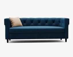 Chester tufted upholstered sofa 3D model