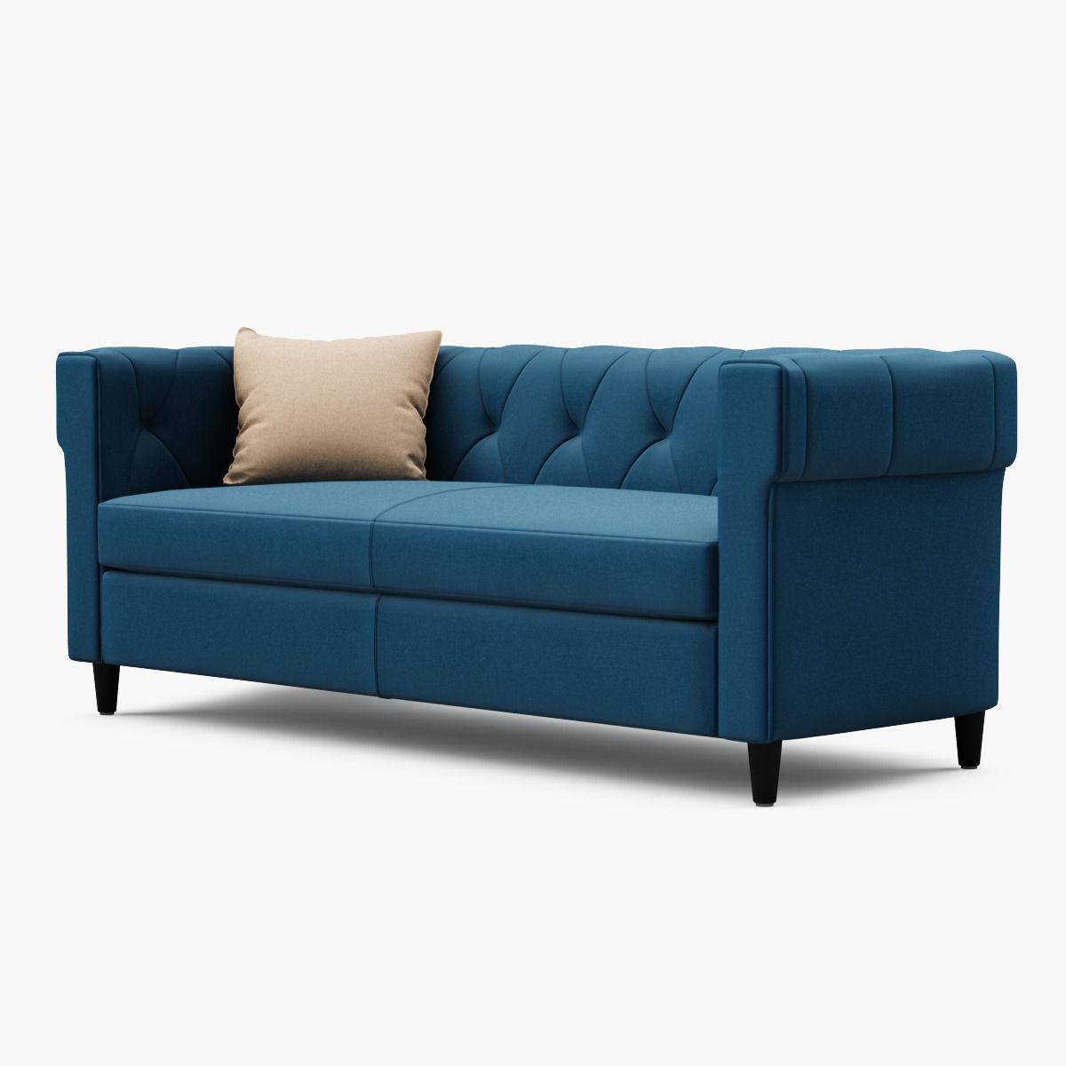 chester tufted upholstered sofa 3d model max obj fbx mtl. Black Bedroom Furniture Sets. Home Design Ideas