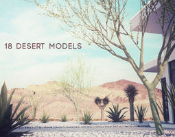 18 high-res desert cg plant and tree models 3d model