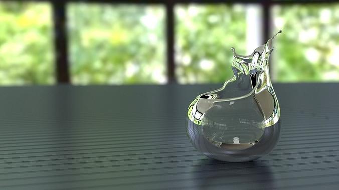 splashing bowl 3d model obj mtl stl 1
