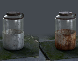 3d asset realtime rusted and stained jar