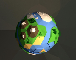 earth created with blender game-ready 3d asset
