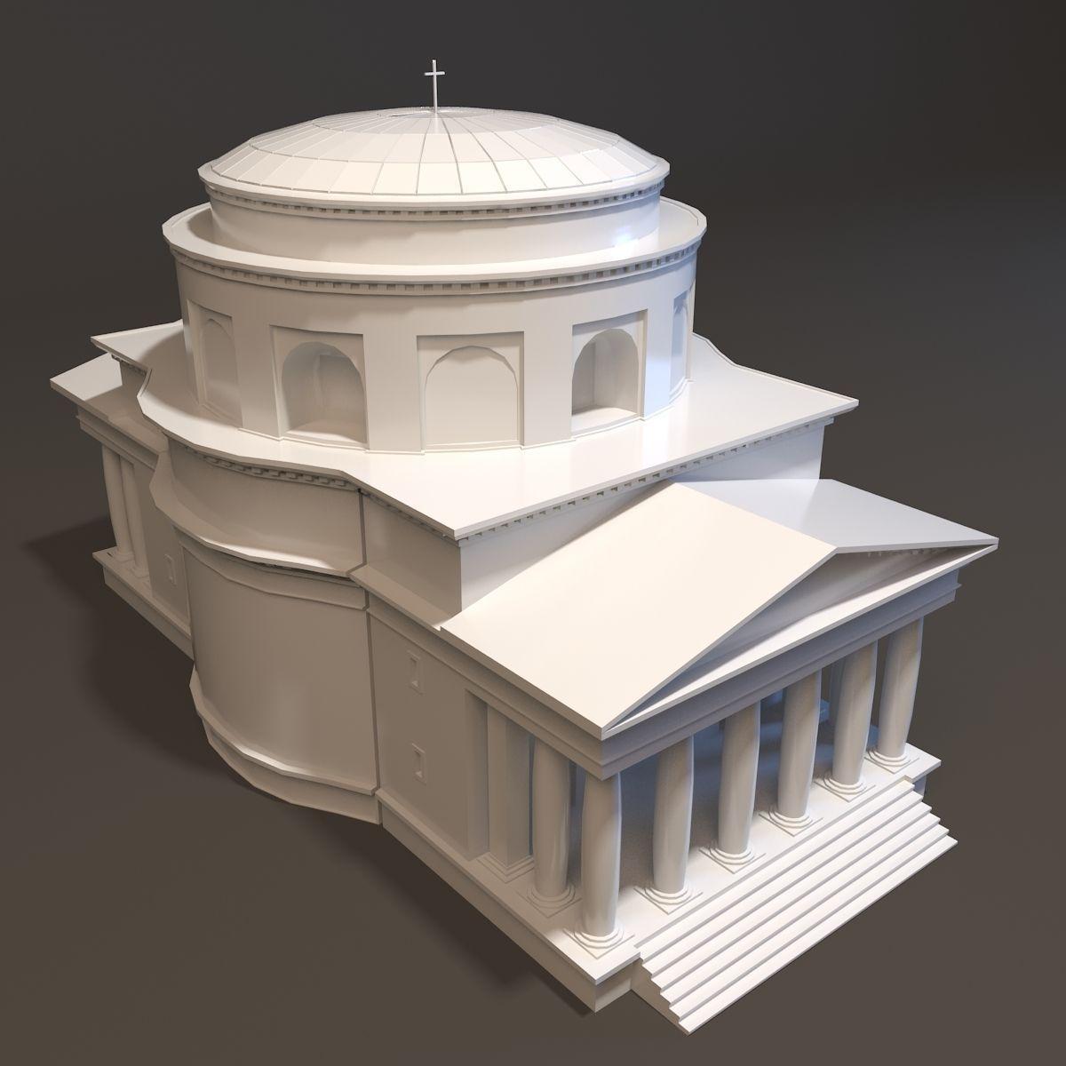 Neoclassical St Alexander Church Miniature 3D Model 3D