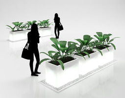 Illuminated Flower Pots with Plants 3D