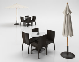 rattan chairs set with table and outdoor umbrella 3d