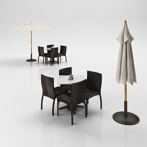 Rattan chairs set with table and outdoor umbrella 3d model for Outdoor furniture 3d max