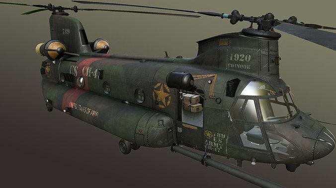 chinook mh-47 3d model max obj fbx ma mb tga 1