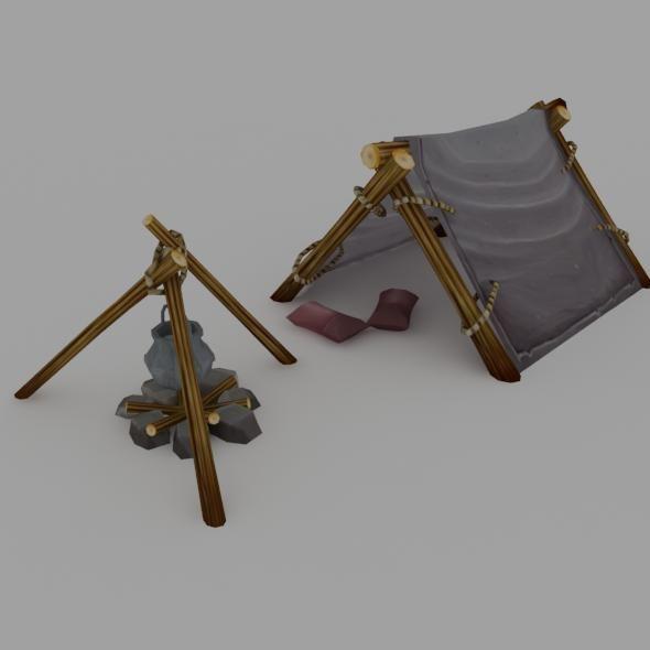 low poly tent 3d model low-poly max obj fbx mtl 1 ... & low poly tent 3D model | CGTrader