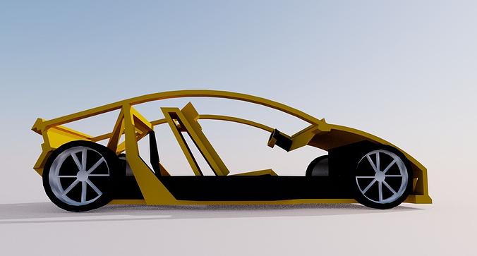 3D model Extruda Modulare Electric Race Car Frame VR / AR / low-poly FBX