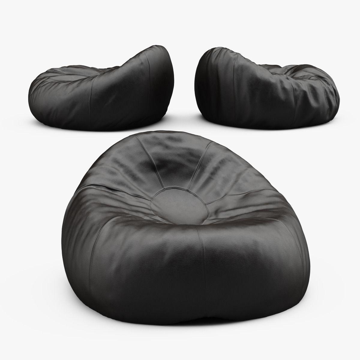 Grand Leather Bean Bag Chair 3d Model