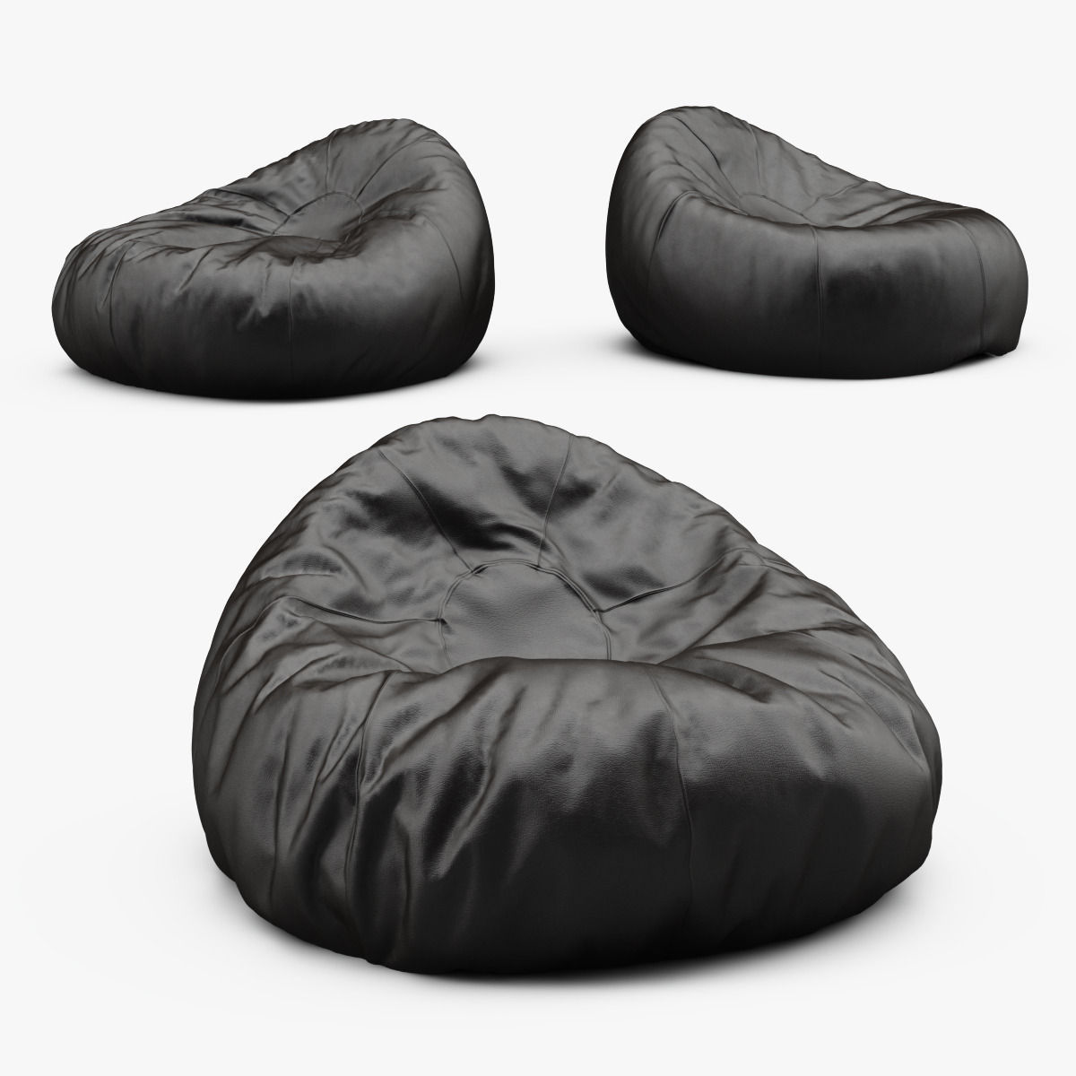 Superb Grand Leather Bean Bag Chair 3D Model Pabps2019 Chair Design Images Pabps2019Com