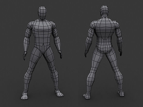 human comics male base mesh 3d