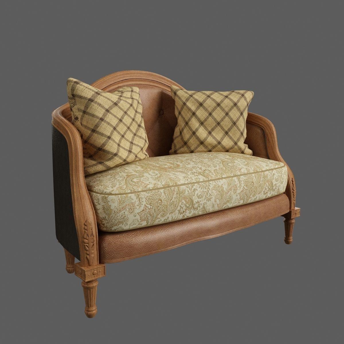 Classic Sofa Free 3D Model MAX OBJ