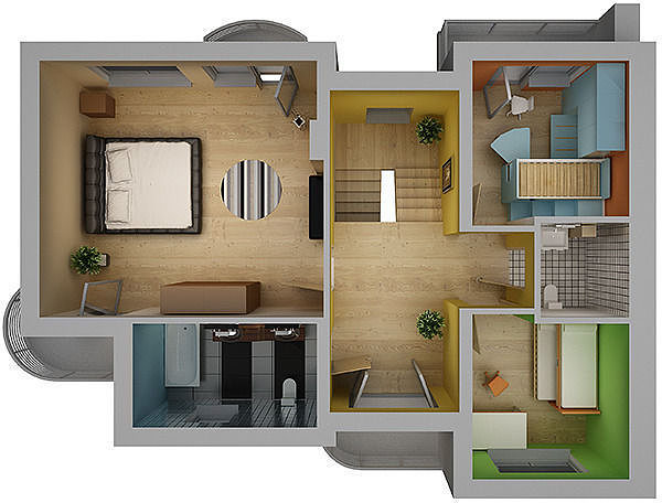 Home interior floor plan 02 3d model cgtrader for Model house design with floor plan