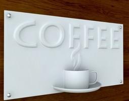 3d printable coffee sign with text stl obj 3d model obj stl