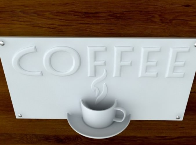 3d printable Coffee Sign with Text STL OBJ 3D Model 3D ...