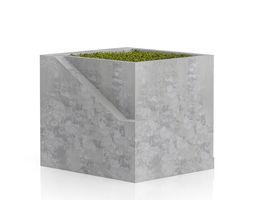 3d model sqaure moss pot