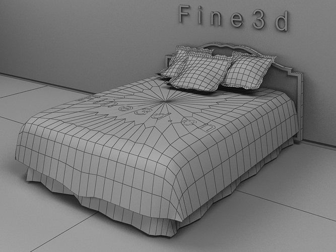Colourful linen bed 3d model max obj 3ds for 3ds max bed model