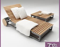 TEAK SUNBED AND TABLE 3D model