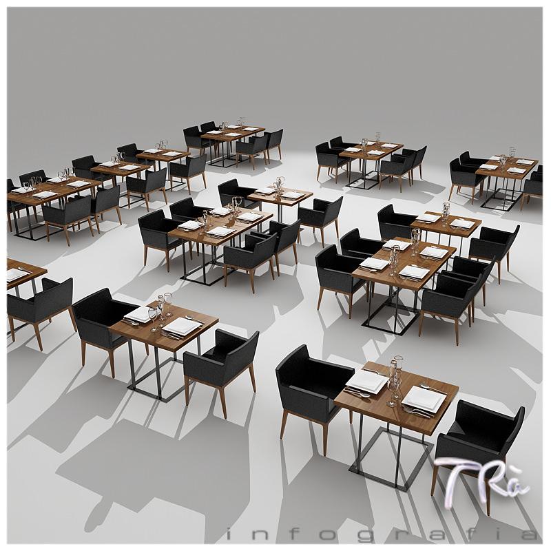 Restaurant tables area 3d model max for Table 99 restaurant