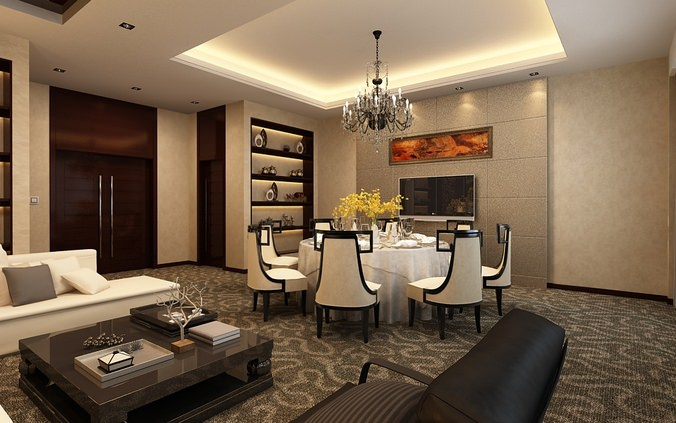 Living dining room space 3d model max for Dining room 3d max model