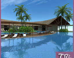 HOTEL RECEPTION TROPICAL RESORT 3D model