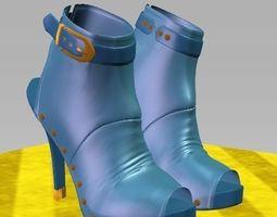 3d model blue female shoes